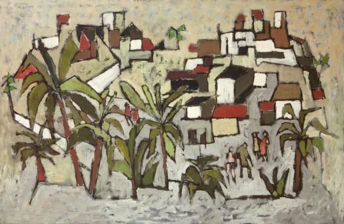 Paysage avec palmiers et six personnages, 1960 - 150 x 100