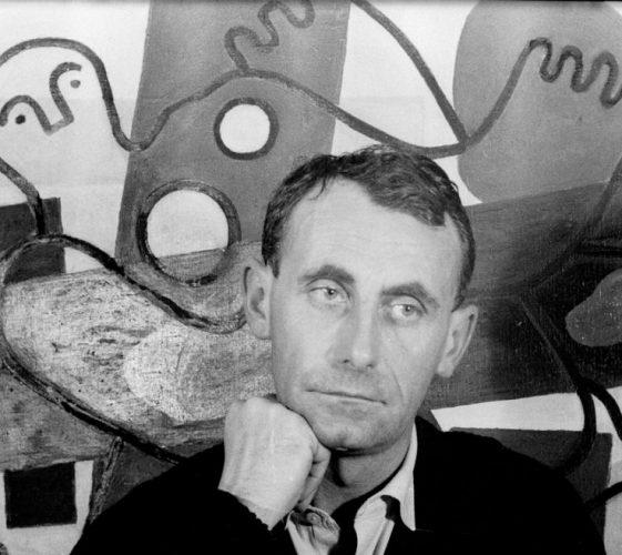 Daniel Wallard devant une version des Plongeurs de Fernand Léger, Touques 1957