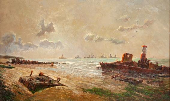 Louis BULOT - Arromanches, pontons et bateaux échoués - huile sur bois - coll privée