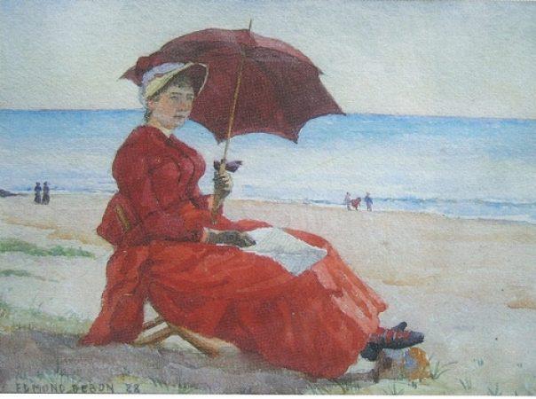 jeune femme à l'ombrelle sur la plage de Carolles , 1888