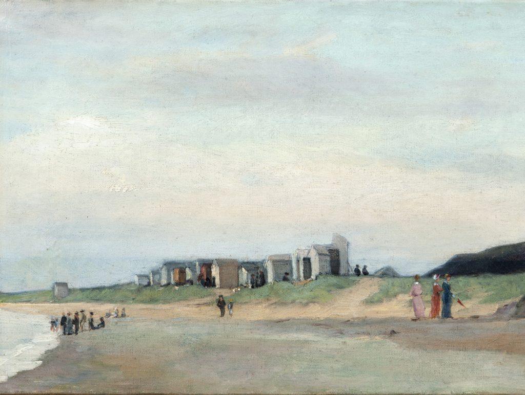 La plage de Carolles, 1879 - huile sur toile - coll privée
