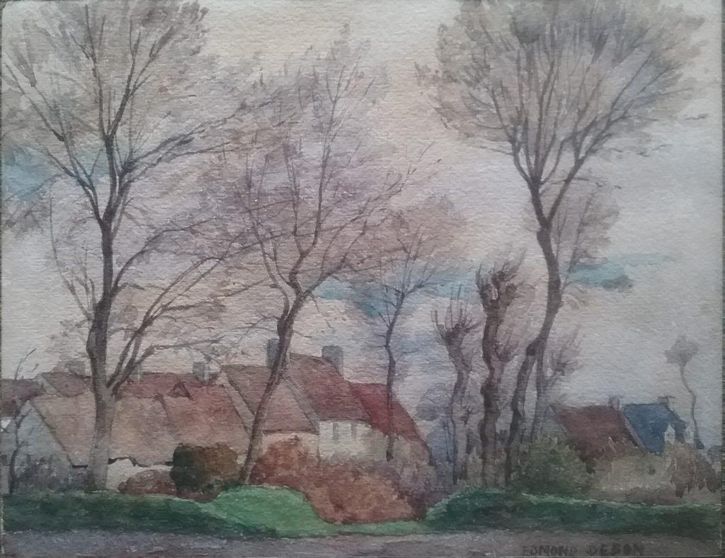 Chaumières près de Carolles - aquarelle - coll privée